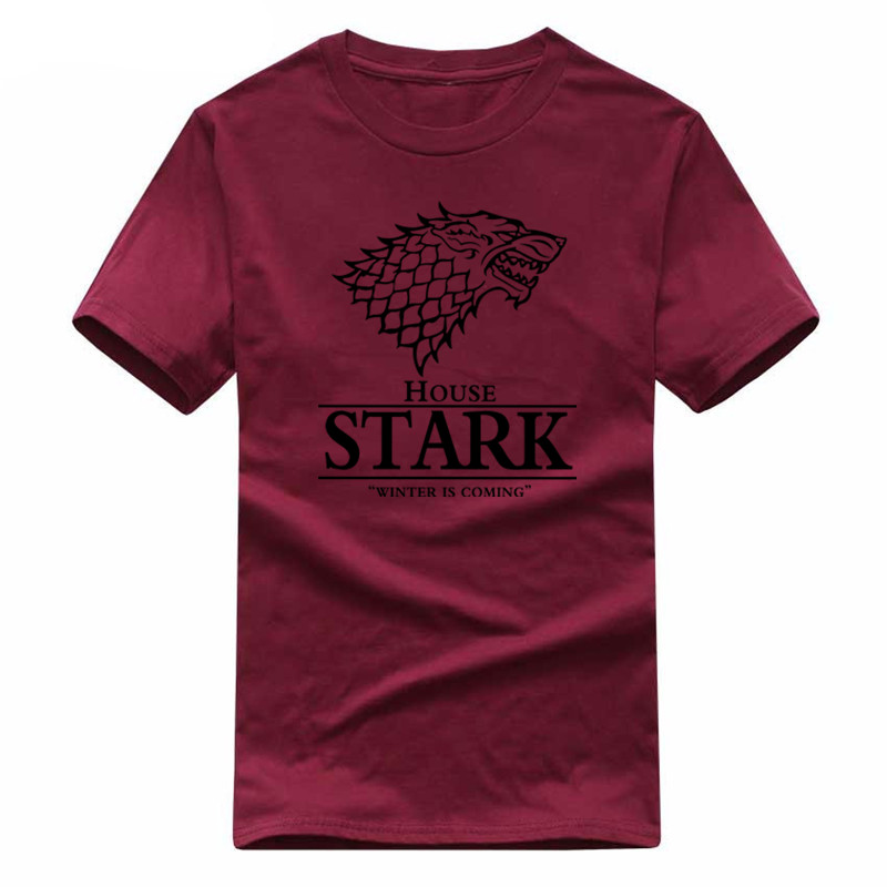 2018 Game of Thrones Wolf T-shirt Stark Winterfell Baumwolle t-shirt Winter kommt Lassige Streetwear t-shirt Fitness
