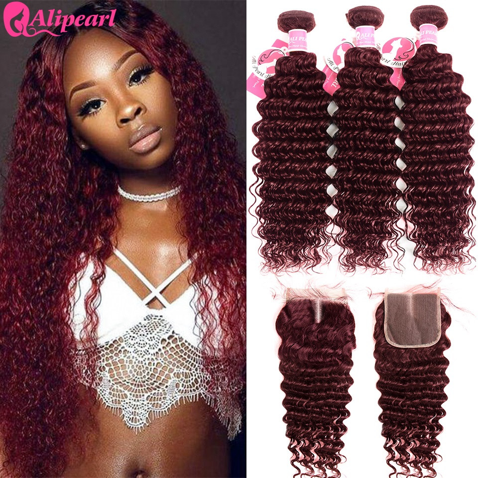 3/4 Bundles With Closure Deep Wave 99j Bundles With Closure Middle Part Brazilian Hair Weave 3 Bundles #27 #1b/27 #1b/99j Bundles Remy Alipearl Hair Excellent Quality