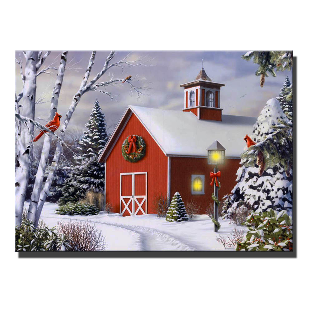 Christmas house with snow art - Canvas Wall Art With Led Lighted Up Merry Christmas For Red Cabin With Trees In Snow