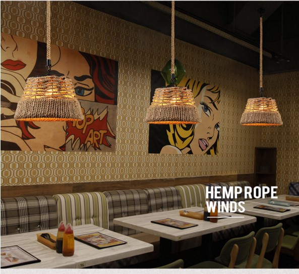 Nordic Vintage Pendant Light Fixtures In Style Loft Industrial Hemp Rope Lamp Hanglamp Lamparas De Techo america country hemp rope pendant lights fixtures in style loft vintage industrial lighting handing lamp pendente