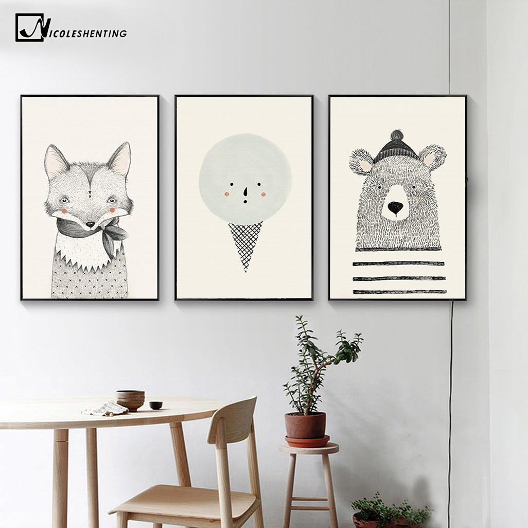 NICOLESHENTING Nordic Art Bear Fox Canvas Poster Painting Cartoon Animal Wall Picture Print Children Baby Room Decoration 4