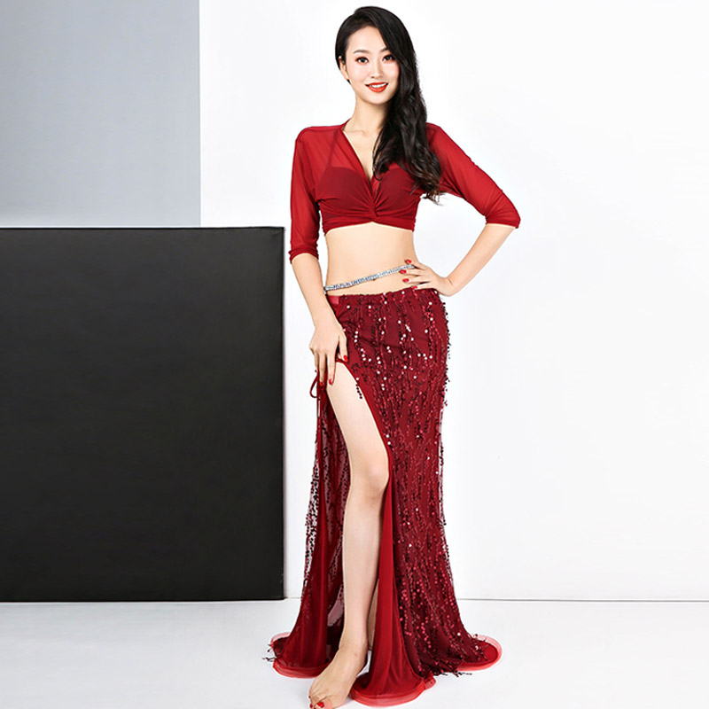 Bellydance Costume Sexy Sequined Tassel Slit Long Skirt Belly Dancing Suit Oriental Indian Clothes Women Performance Wear DN3759