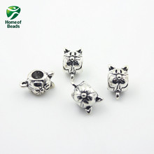 Jew2017 New Fashion Wholesale Antique Silver Cat Alloy Beads Accessories For Making Jewelry  (30pcs/lot) ZA1012