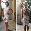 Vintage Lace Cocktail Dresses High Collar White Lace Champagne Lining Short Party Backless Appliques  Summer Fall Custom Made