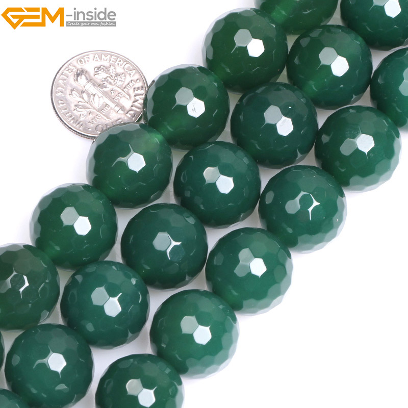 Natural Round Green Faceted Agates Beads For Jewelry Making 6-16mm 15inches DIY Jewellery Necklace FreeShipping Wholesale Gem