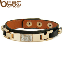 Gold Color Black Leather Bracelet Bangle PI0305