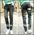 hot selling women's fashion cotton denim jeans casual baggy pants korea style pencil pants draped do old high quality,