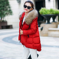 new plus size 2XL 5 color cotton coat black red Large fur collar hooded coat winter women jacket coat slim parka winter coat 076