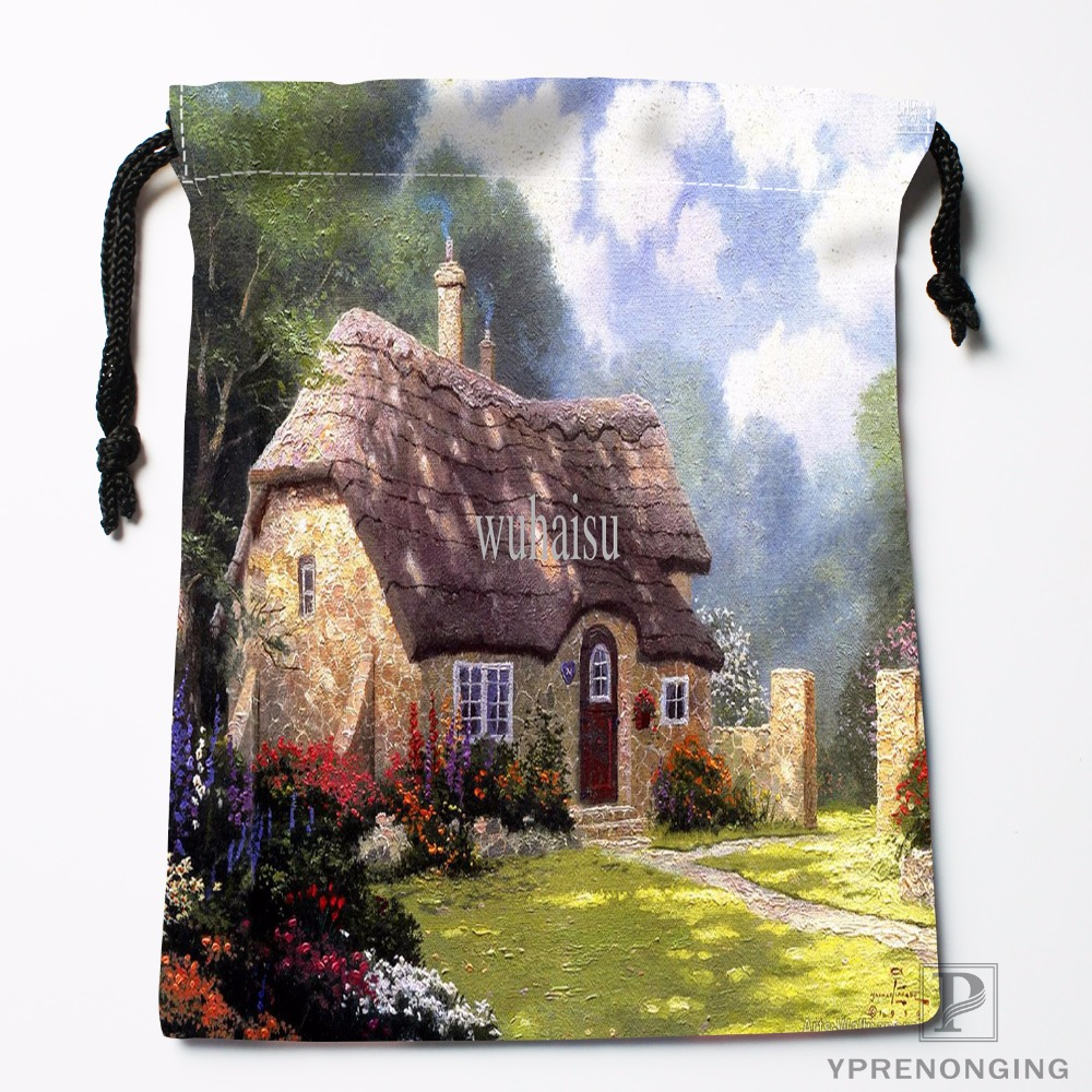 Custom Classical Country House Drawstring Bags Printing Travel Storage Mini Pouch Swim Hiking Toy Bag Size