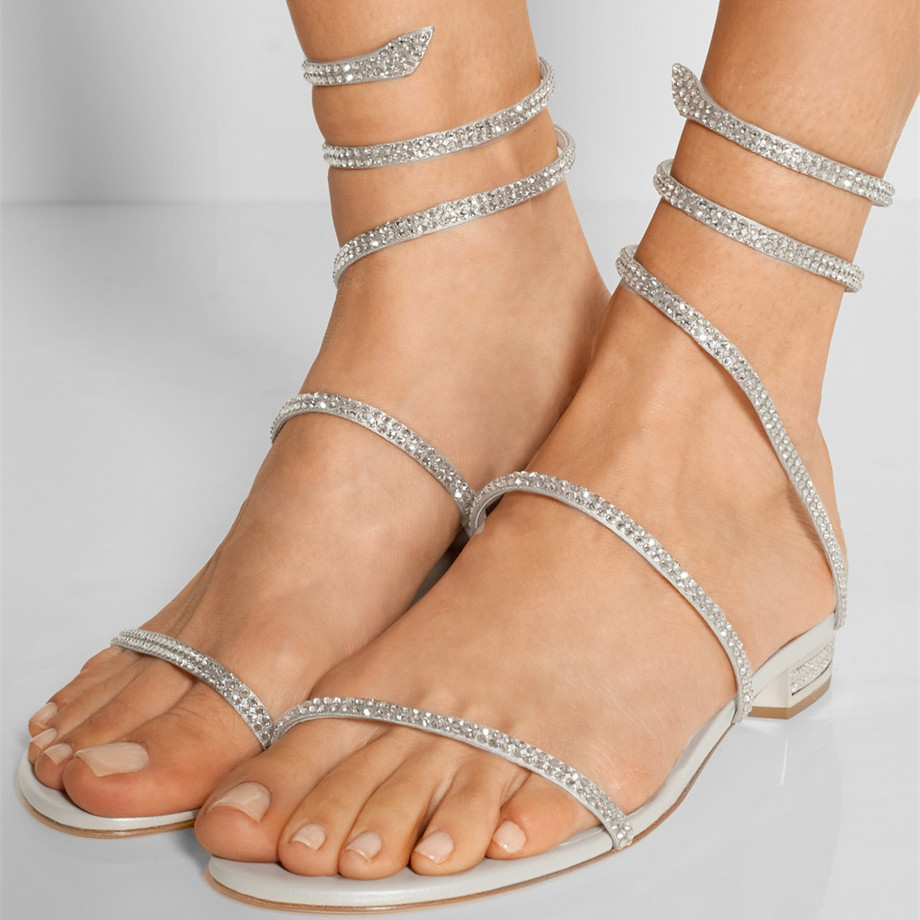 Women's sandals with bling - Bling Crystal Embellished Satin Sandals Brand Flats Women Sandals 2017 Rhinestone Ankle Warp Summer Party Wedding