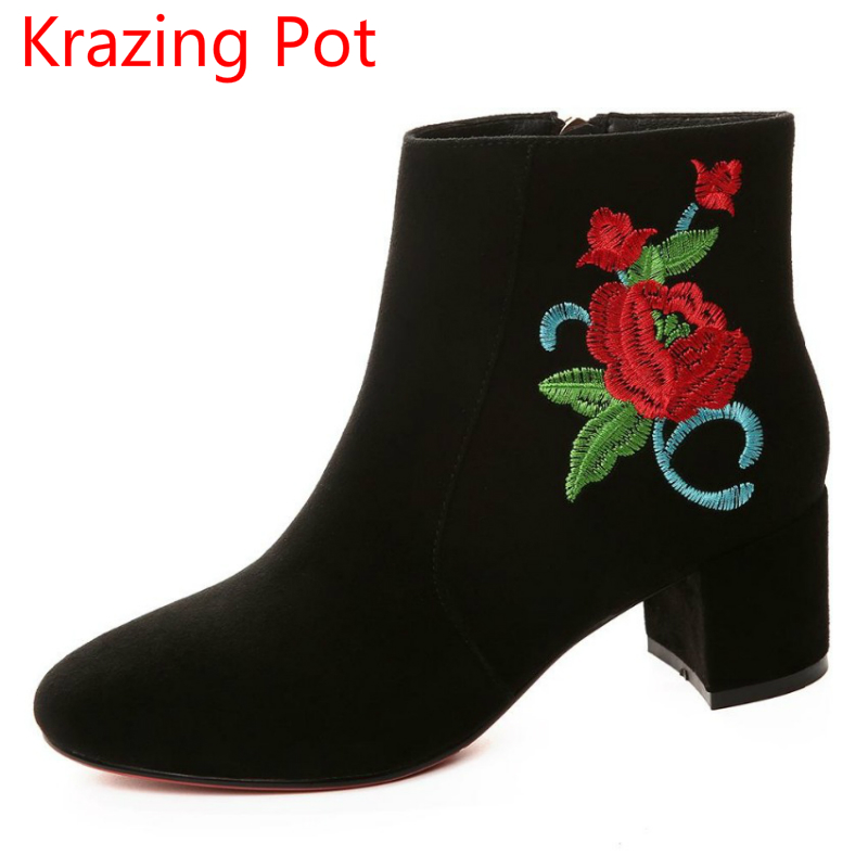 New Arrival Genuine Leather Embroidery Flower Winter Shoes Thick Heel Fashion Chelsea Boots Runway Mixed Colors Ankle Boots L66 new fashion diamond embroidery genuine