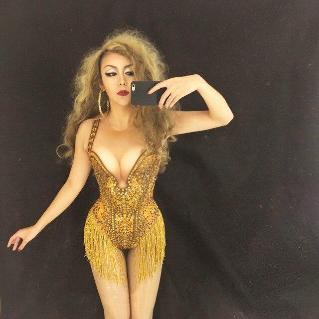 Women Sexy Gold Sparkly Crystals Leotard Tassel Bodysuit Dance Wear Women s  Birthday Celebrate Costume Baalmar DJ 611f8a010