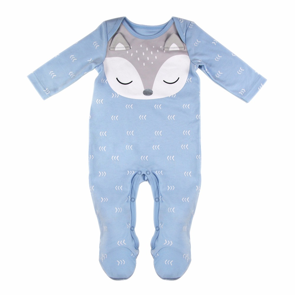 Cuikevin Fashion Baby Boy Newborn Clothes Infant Girl Jumpsuit Toddler Baby Rompers Long Sleeve Fox Cartoon Cotton Baby Romper newborn infant baby boy girl cotton romper jumpsuit boys girl angel wings long sleeve rompers white gray autumn clothes outfit