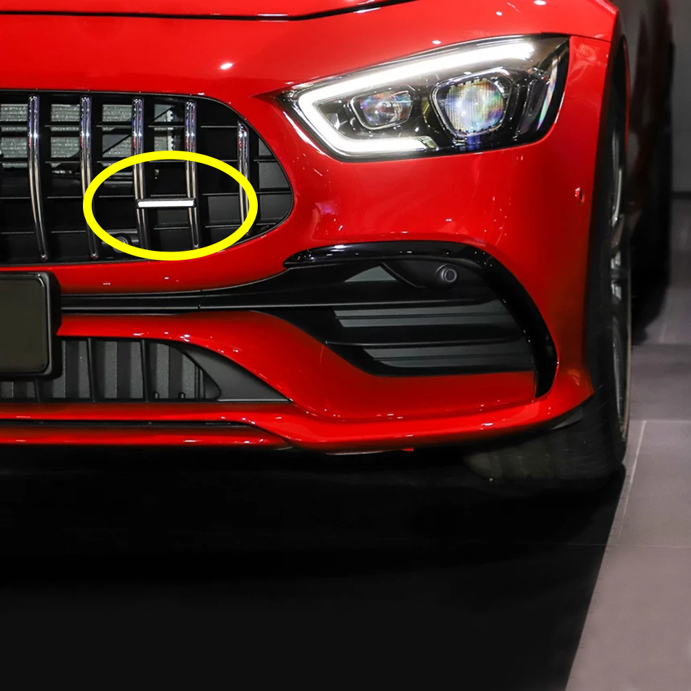 1-50 pcs For AMG Logo Front Grills Badge 3D Sticker For Mercedes Benz GT C63 GLC S G Class 4MATIC Nameplate Car Styling image