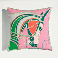 Luxury Horse Velvet Pink Blue Cushion Cover Soft Printed 45x45cm Pillow Cover Pillowcase Home Decorative Sofa Throw Pillow Chair