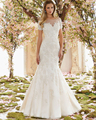 New Arrival Ivory Organza And Tulle Beading Appliques Mermaid Wedding Dresses 2016 With Short Sleeve Scalloped Neck Sweep Train
