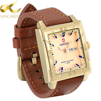 Lancardo Men Watches 2017 Top Selling Fashion Male Clock Gold Square Quartz Watch Men Business Wristwatch