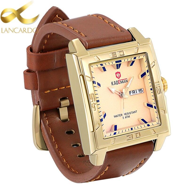 Lancardo Men Watches 2017 Top Selling Fashion Male Clock Gold Square Quartz Watch Men Business Wristwatch Saat Erkekler