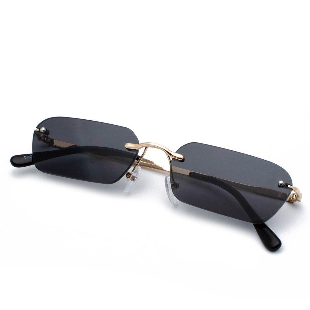 Peekaboo rimless rectangle sunglasses women clear color 2019 summer accessories square sun glasses for men small size uv400 3