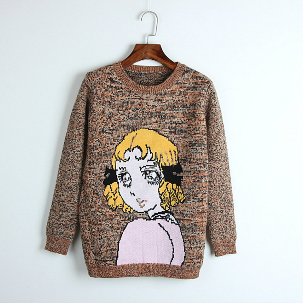 Runway Women Sweaters Cartoon Girl Crystal Eyes 2018 Autumn Winter Thick Female Designer Loose Pullover High Quality Casual Tops
