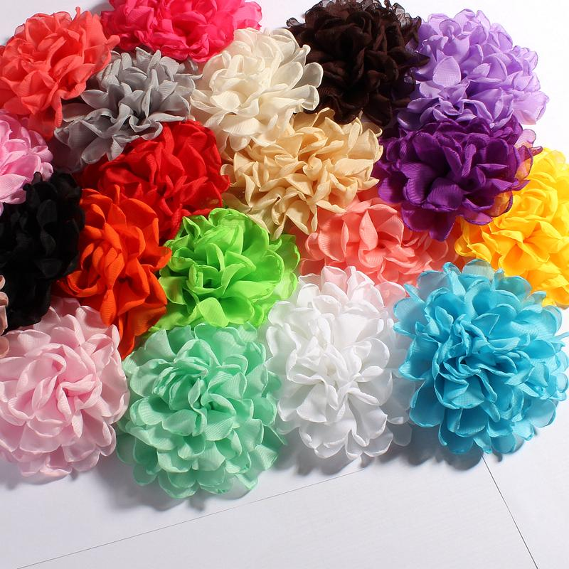 200pcs/lot 4 20Color Artificial Soft Tulle Multilayer Burned Eage Petal Fabric Flowers For Children Headbands Hair Accessories