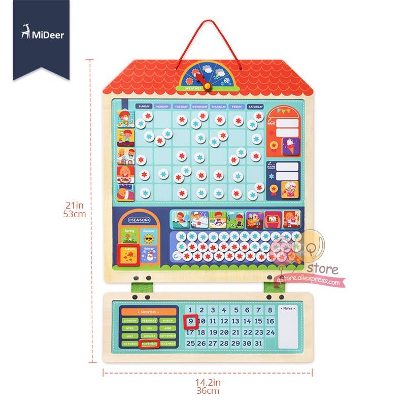 Micerf en bois magnétique récompense activité responsabilité graphique calendrier enfants calendrier jouets éducatifs pour enfants cible conseil - 6