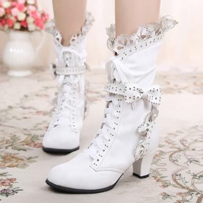 ФОТО High Quality Japanese Style Sweet Ruffle Trim Lace Up Bow Princess Boots Lolita Cosplay Boots