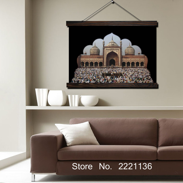 Islam Worship Door HD Print Scroll Paintings Wall Art Printed Hanging Framed  Canvas Painting Modern Home