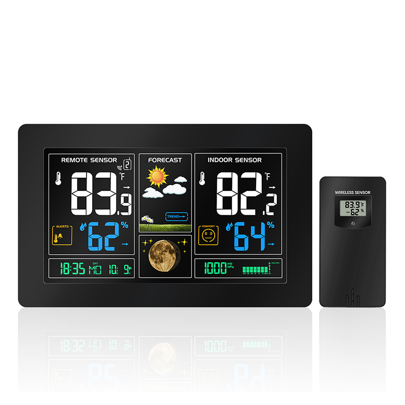 US Adapter RCC Wireless Weather Station Temperature Humidity Sensor Colorful LCD Display Weather Forecast Snooze alarm clock