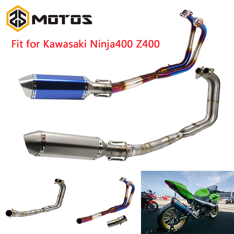 ZS MOTOS Motorcycle Full Exhaust System For Kawasaki Ninja 400 Z400 51mm Stainless Steel Pipe Tube Exhaust SystemZS MOTOS Motorcycle Full Exhaust System For Kawasaki Ninja 400 Z400 51mm Stainless Steel Pipe Tube Exhaust System