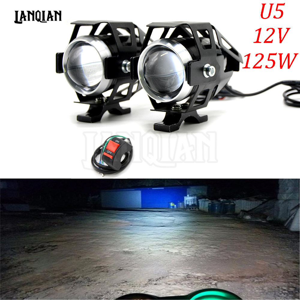 Universal 12V Motorcycle Metal LED Headlight Driving Spot Head font b Lamp b font Fog Light
