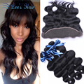 7A Brazilian Virgin Hair with Closure Body Wave Lace Frontal Closure with Bundles Human Hair Weave Brazilian Hair Weave Bundles