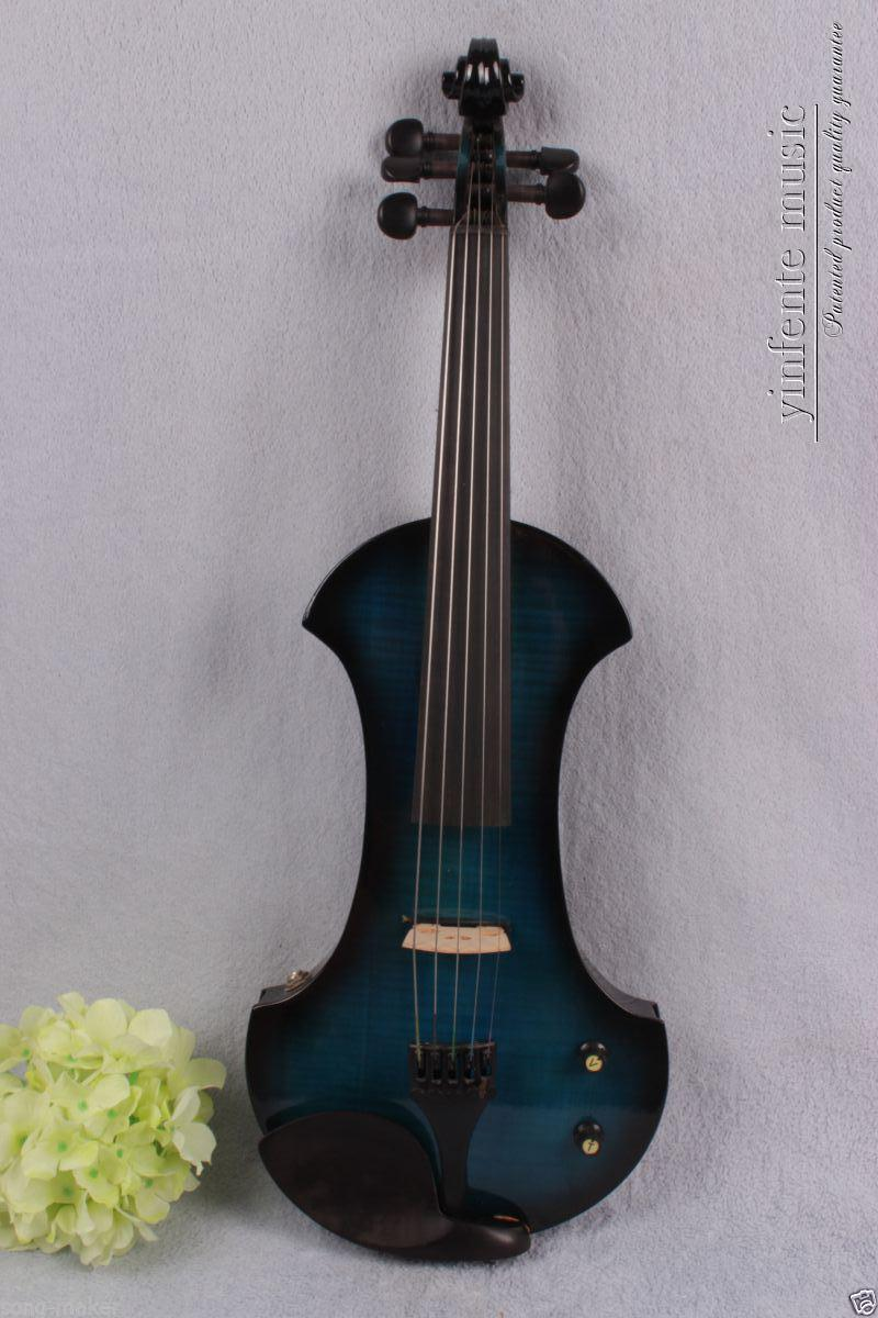 4/4 Electric violin Powerful Sound silent 5 string ebony parts flame maple #1373 002208 4 string 3 4 new electric upright double bass finish silent powerful sound
