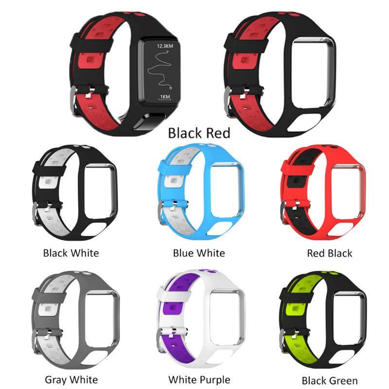 Two Tone Watch Band Wrist Strap TPE Adjustable Bracelet Sports Replacement For Tomtom 2 3 Series Smart Watch Accessories