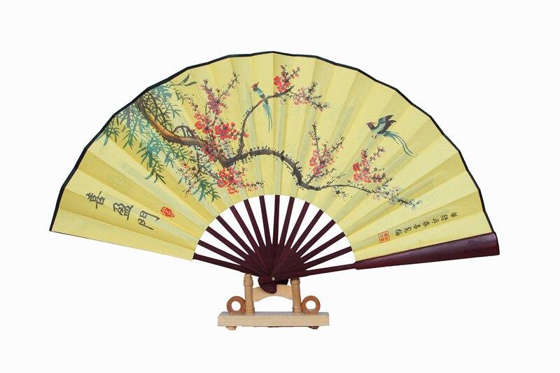 """1"""" украшенный Шелковый складной Ручной Веер человек большой бамбуковый китайский Печатный веер из ткани традиционное ремесло свадебные сувениры веер - Цвет: Cherry blossoms"""
