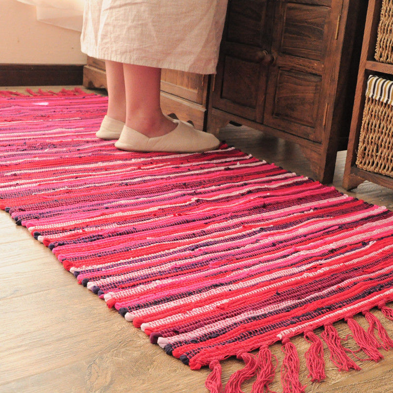 2017 New Hand Hooked Striped Cotton Carpet With Tassel Yoga Mat Beach Sand  Pad Linen Cotton