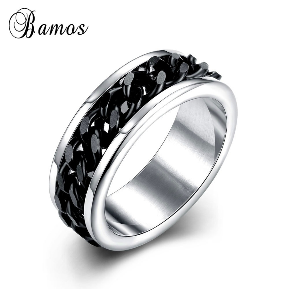 Cooperative Punk Rock Accessories Stainless Steel Black Chain Spinner Rings For Men Unique Style Wedding Party Finger Ring Hot Sale Smt0370 Excellent Quality Jewelry & Accessories