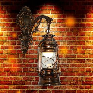 Image 5 - Vintage LED Wall Lamp Barn Lantern Retro Kerosene Wall Light European Antique Style WF4458037