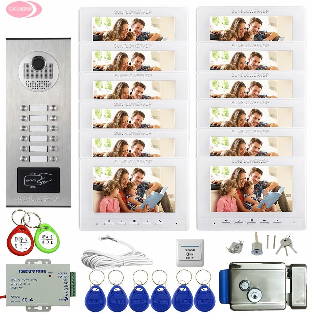 Video Door Phone Intercom System 12 Apartments 7inch Color Video Intercom Residential Security + Electronic Door Lock Home Phone