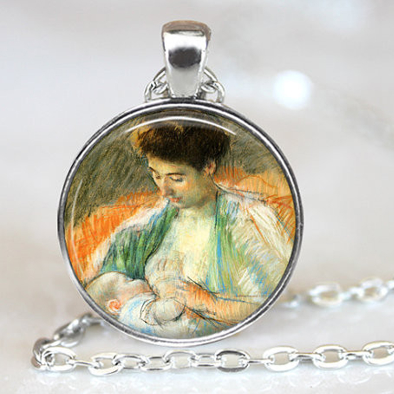 New Mother Rose Nursing Her Baby Pendant Necklace Breast Feeding Jewelry Mothers Day Gifts Glass Dome Pendants Necklaces HZ1