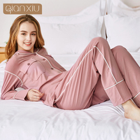 Apring winter sleepwear Fashion Pink color Homedress Knitted Modal Cotton Pyjama women pajamas set 18105