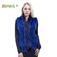 ZDFURS * knitted rabbit fur vest raccoon dog fur collar knitted vest rabbit fur waistcoat gilet