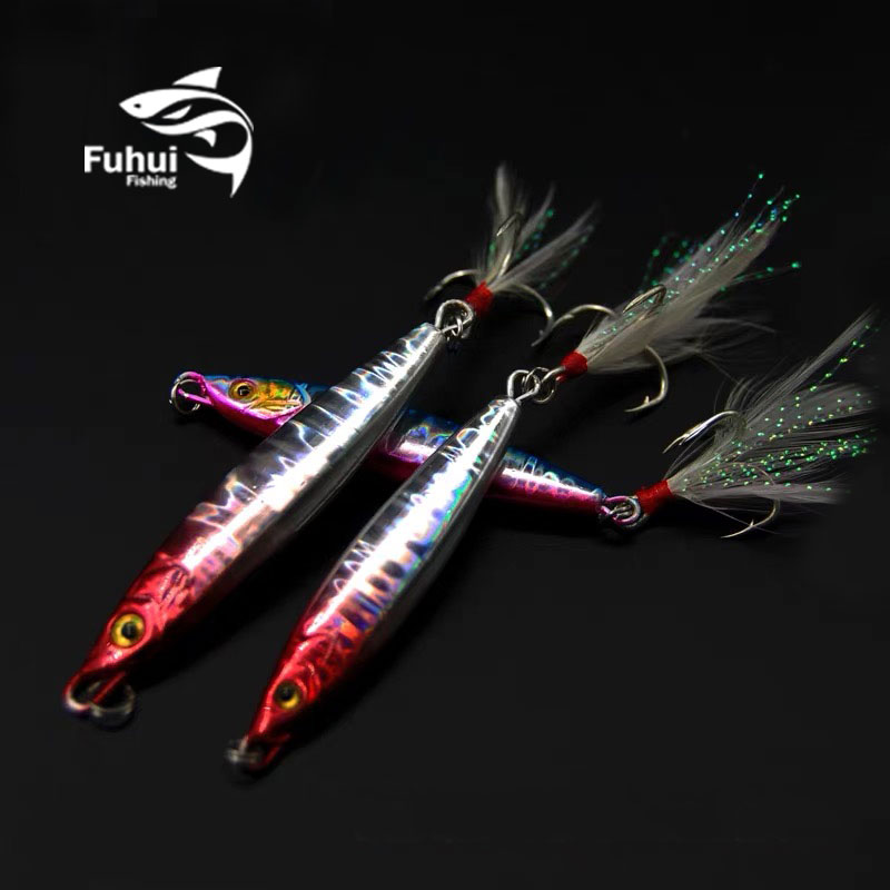 Laser metal clamp 18G 20g 25g 40g 60g 80g jigging bait lead fish metal bait <font><b>Barracuda</b></font> <font><b>fishing</b></font> gear with three hooks image