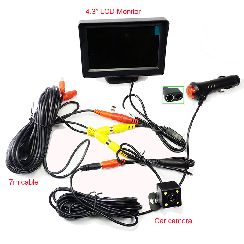 2n1 Auto Car Parking System 4.3LCD Monitor With 4LED Car Rear View Camera Cigarette Lighter Power RCA Video Cable kit