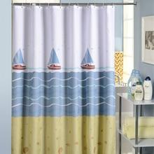 Cartoon Sailboat Shower Curtains Bathroom Waterproof Bath Curtain Bathtub Bathing Cover Extra Large Wide 12 Hooks rideau de bain