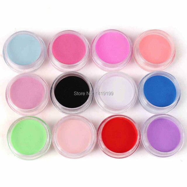 Pro 12 Цветов Акриловая Пудра Пыли Для Ногтевого Искусства УФ Builder Набор Инструментов Для Маникюра
