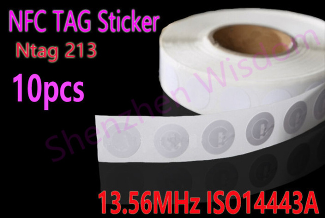 10pcs/Lot NFC Tags Sticker 13.56MHz ISO14443A Ntag 213 NFC Stickers Universal Lable Ntag213 RFID Tag for all NFC enabled phones