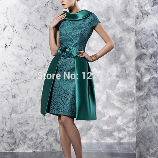 Green 2019 Mother Of The Bride Dresses Sheath Cap Sleeves Lace Knee Length Short Wedding Party Dress Mother Dresses For Wedding