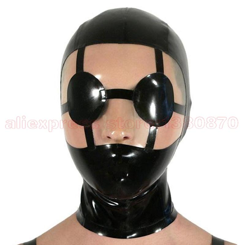 Kvinnor Man Unik Svart Sexig Latex Mask Latex Club Hood LM079