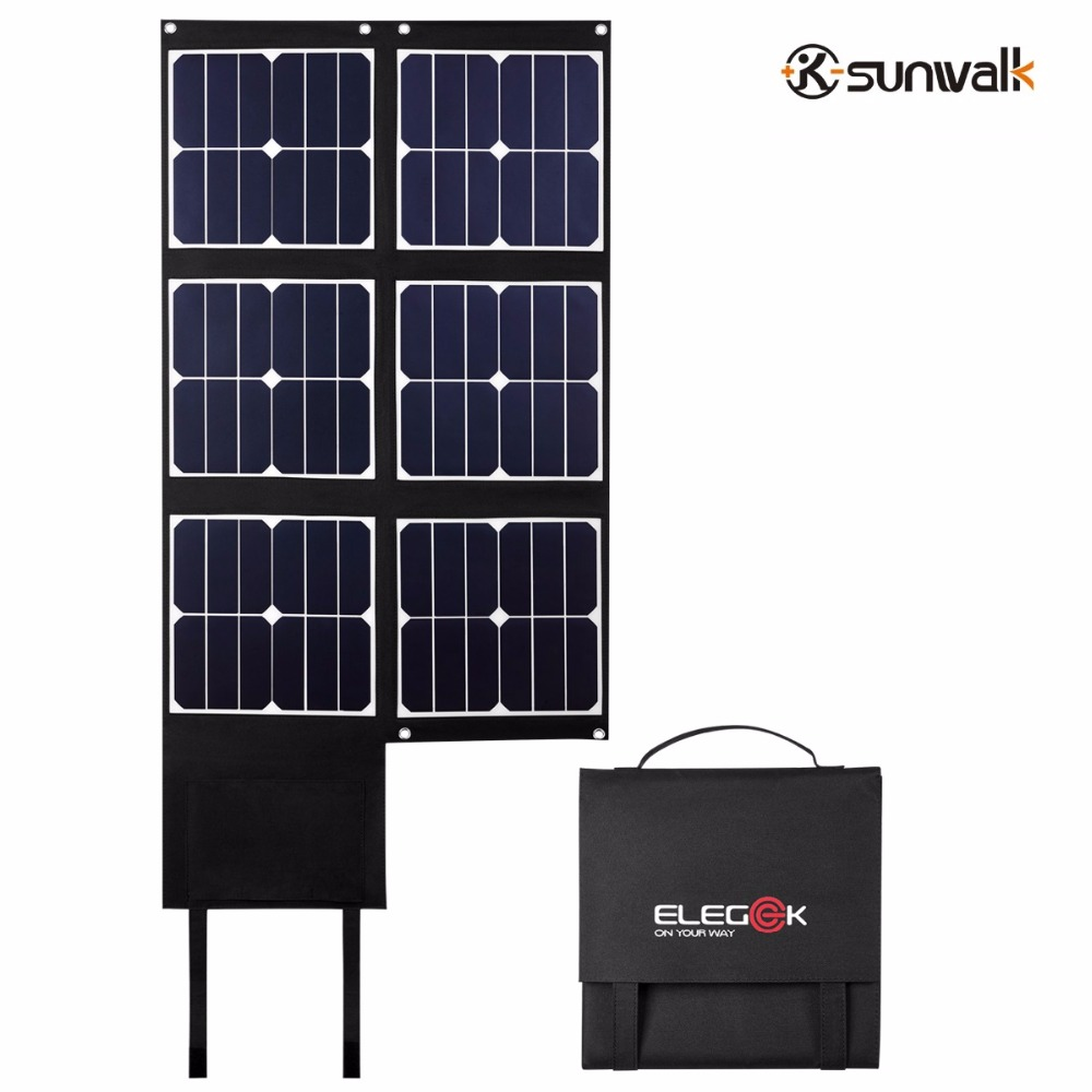 SUNWALK ELEGEEK 80W Folding Solar Panel Charger USB+DC Output Portable Solar Panel for Phone Laptop Power Bank Solar Generator sunwalk elegeek 21w foldable portable solar panel charger battery 18v solar mobile phone cellphone charger for phones tablets